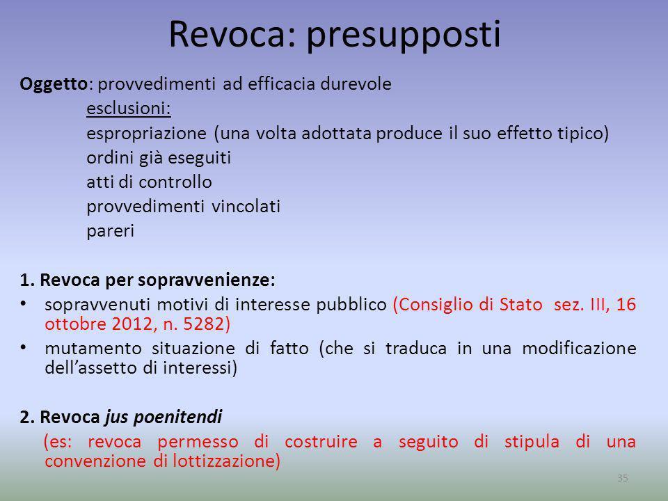 Revoca: presupposti Oggetto: provvedimenti ad efficacia durevole