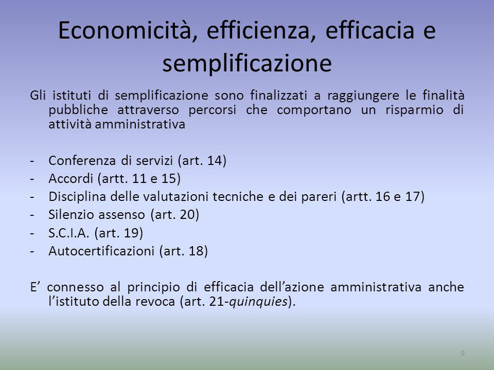 Economicità, efficienza, efficacia e semplificazione