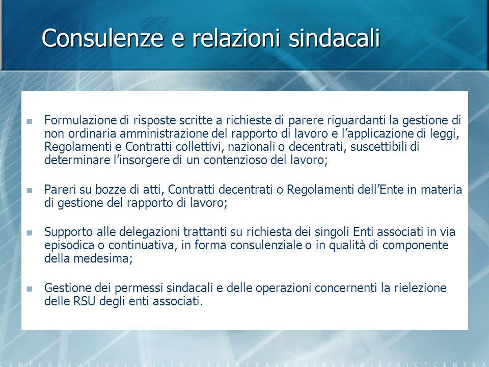 Consulenze e relazioni sindacali