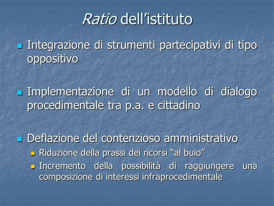 Ratio dell'istitutoIntegrazione di strumenti partecipativi di tipo oppositivo.