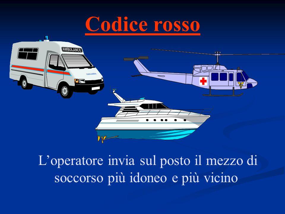 Codice rosso L'operatore invia sul posto il mezzo di soccorso più idoneo e più vicino