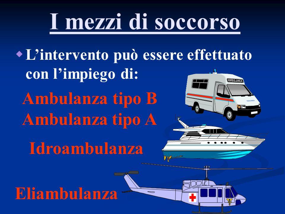 I mezzi di soccorso Ambulanza tipo B Ambulanza tipo A Idroambulanza
