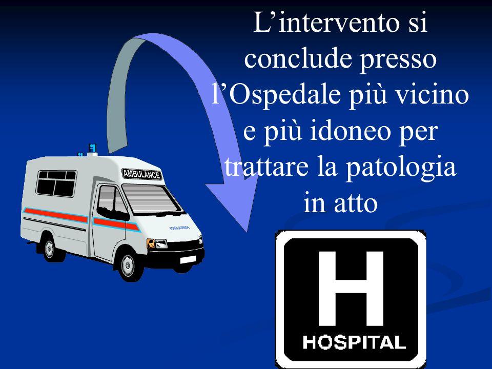 L'intervento si conclude presso l'Ospedale più vicino e più idoneo per trattare la patologia in atto