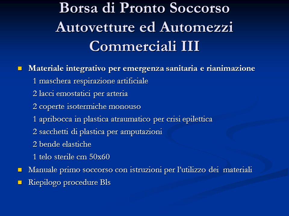 Borsa di Pronto Soccorso Autovetture ed Automezzi Commerciali III