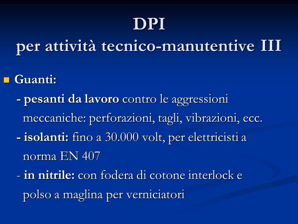 DPI per attività tecnico-manutentive III