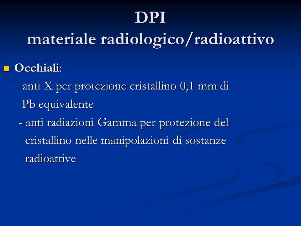 DPI materiale radiologico/radioattivo