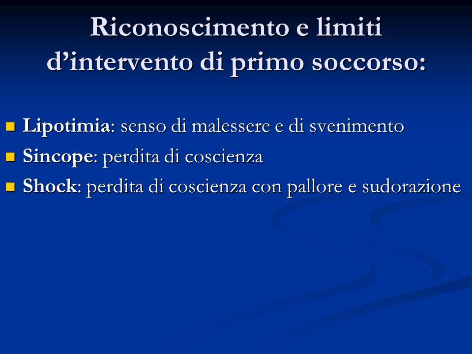 Riconoscimento e limiti d'intervento di primo soccorso: