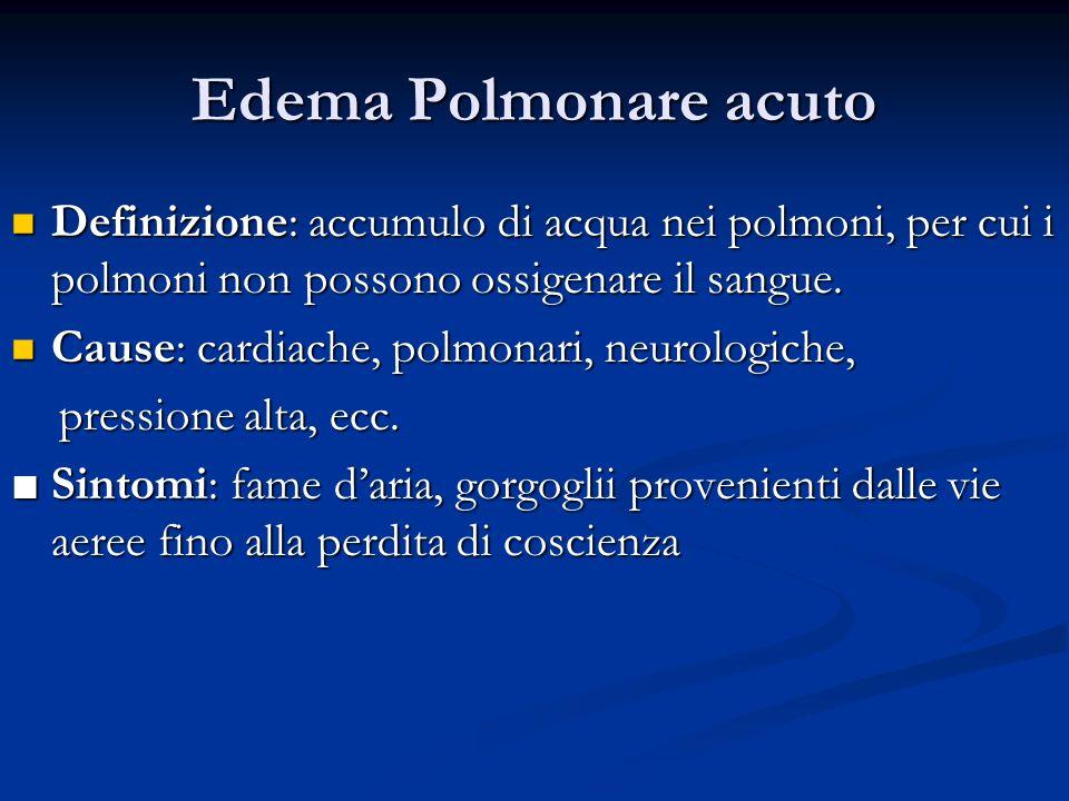 Edema Polmonare acuto Definizione: accumulo di acqua nei polmoni, per cui i polmoni non possono ossigenare il sangue.