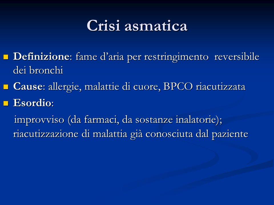 Crisi asmatica Definizione: fame d'aria per restringimento reversibile dei bronchi. Cause: allergie, malattie di cuore, BPCO riacutizzata.