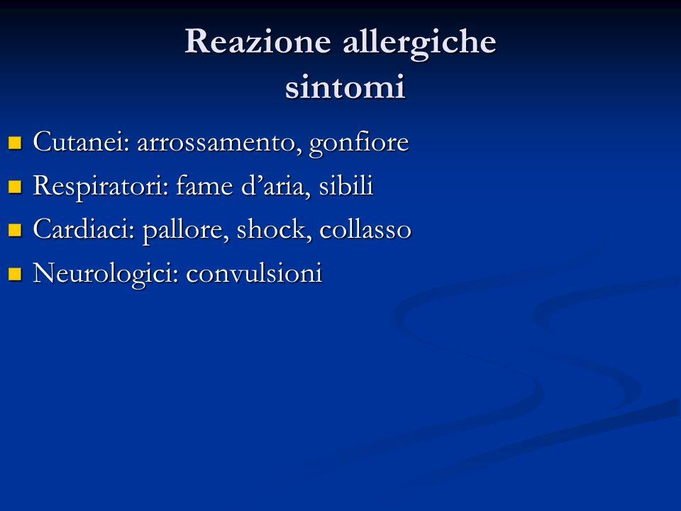 Reazione allergiche sintomi