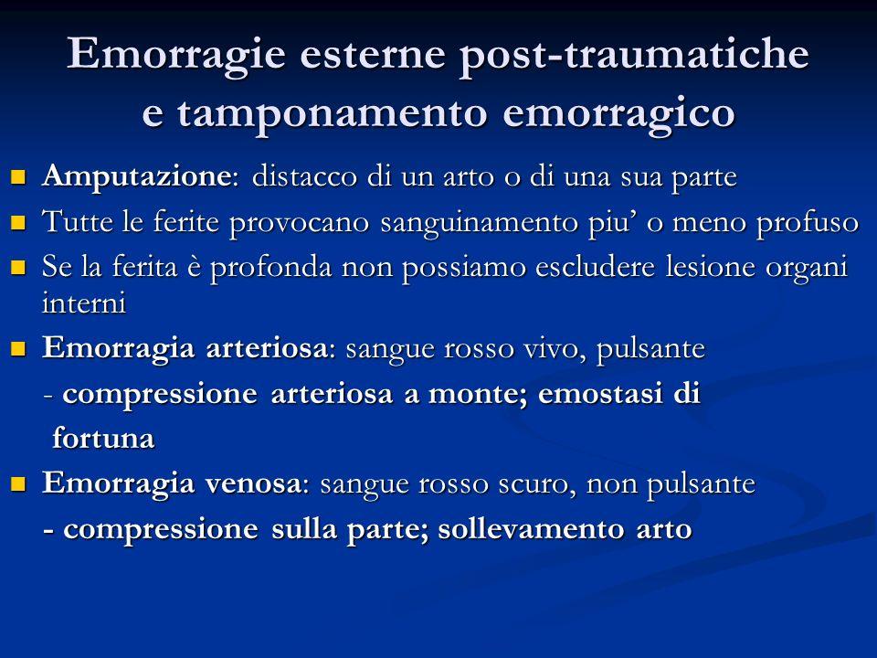 Emorragie esterne post-traumatiche e tamponamento emorragico