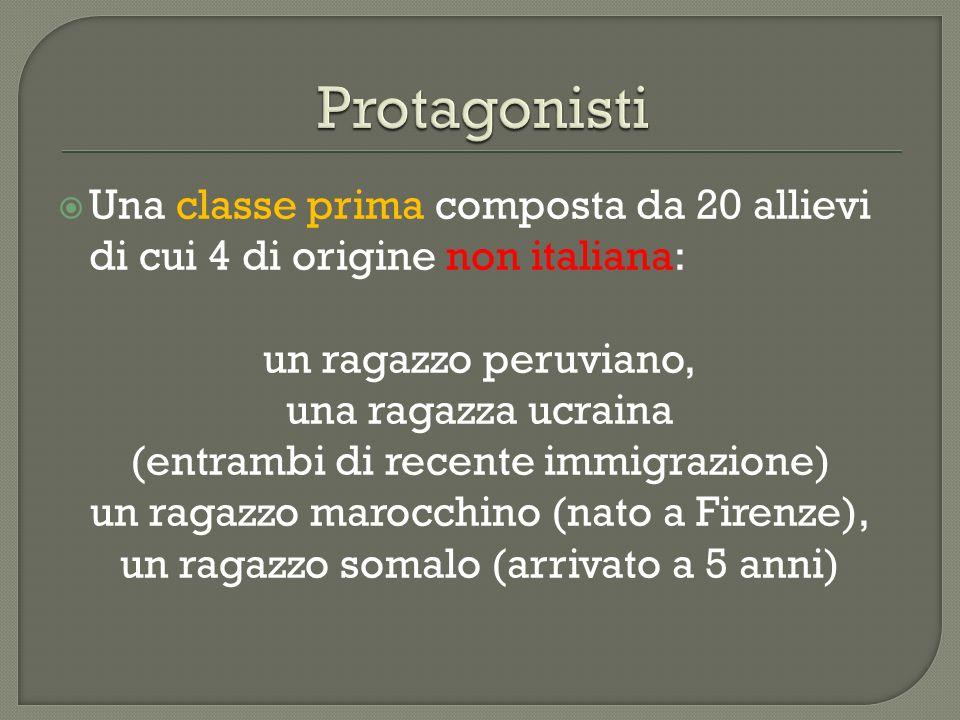 Protagonisti Una classe prima composta da 20 allievi di cui 4 di origine non italiana: un ragazzo peruviano,