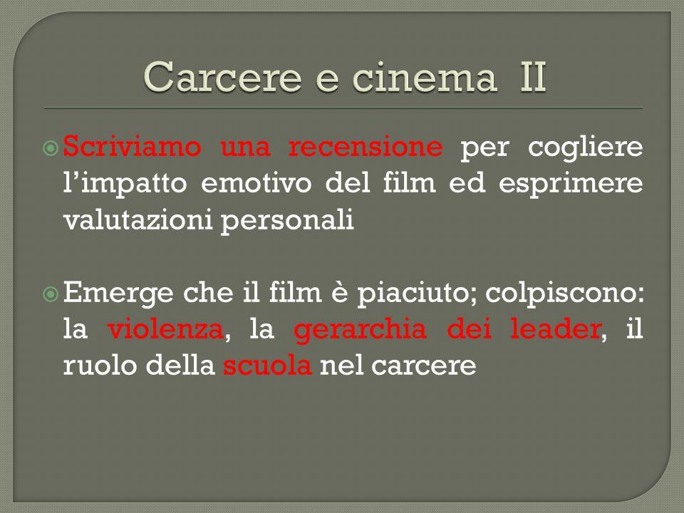 Carcere e cinema II Scriviamo una recensione per cogliere l'impatto emotivo del film ed esprimere valutazioni personali.