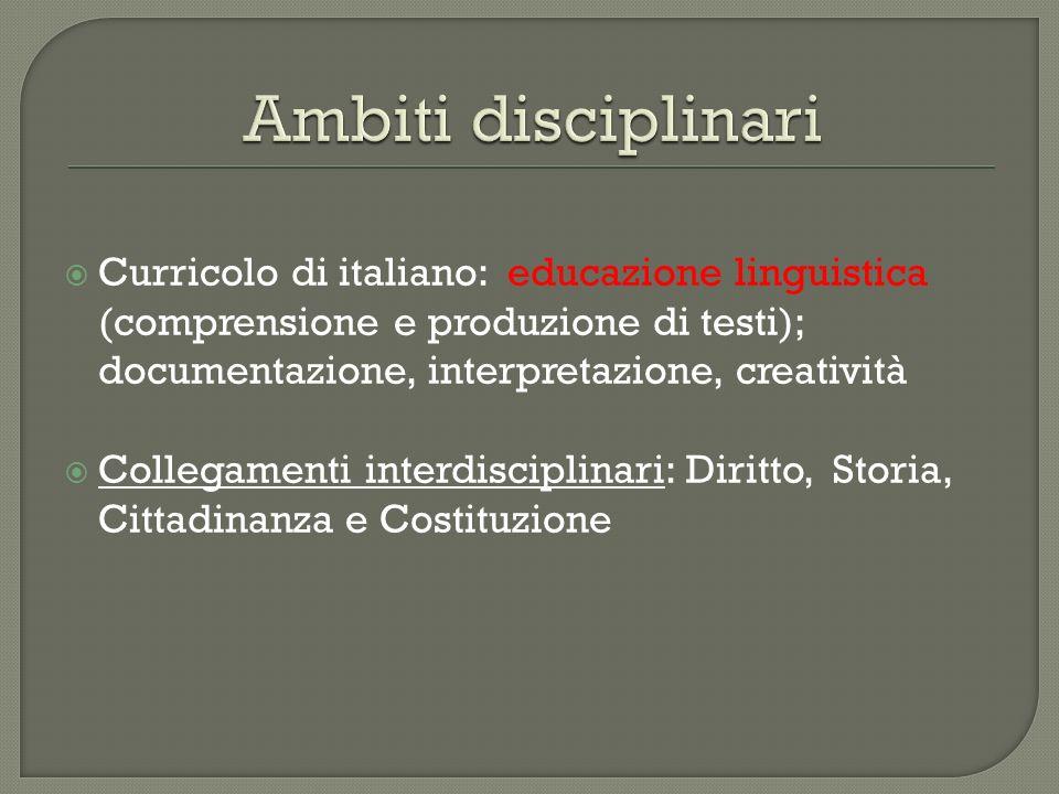 Ambiti disciplinari Curricolo di italiano: educazione linguistica (comprensione e produzione di testi); documentazione, interpretazione, creatività.