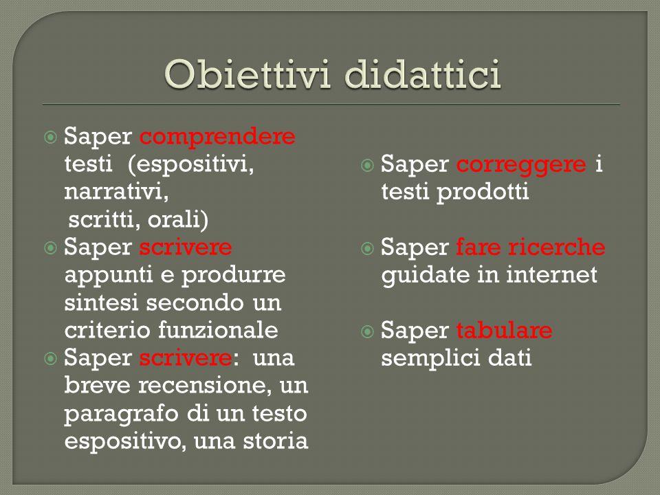 Obiettivi didattici Saper comprendere testi (espositivi, narrativi,