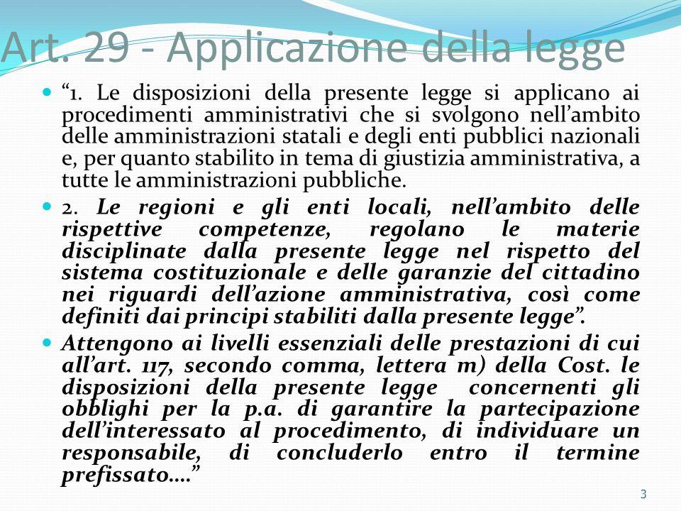 Art. 29 - Applicazione della legge