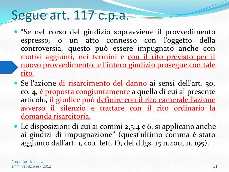 Segue art. 117 c.p.a.