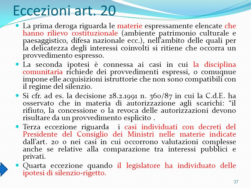 Eccezioni art. 20