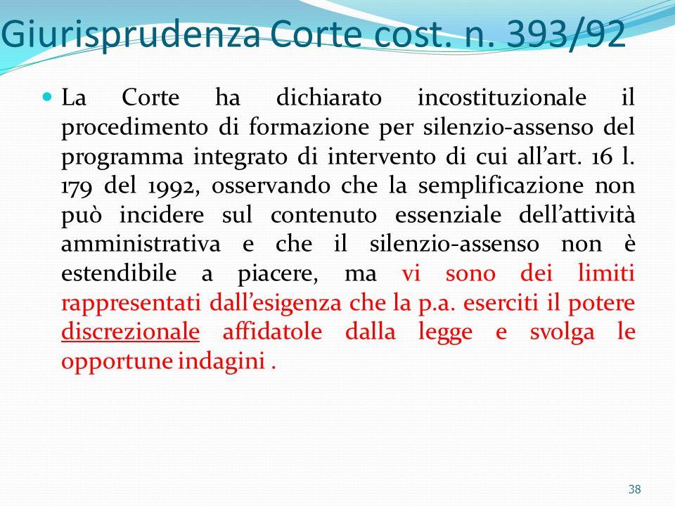 Giurisprudenza Corte cost. n. 393/92