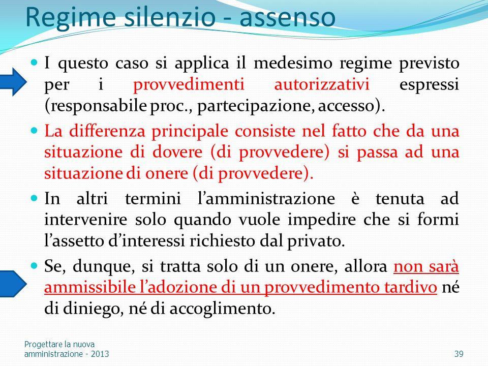 Regime silenzio - assenso