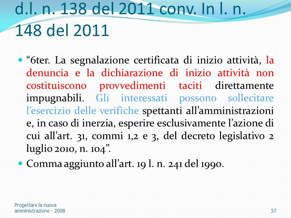 d.l. n. 138 del 2011 conv. In l. n. 148 del 2011