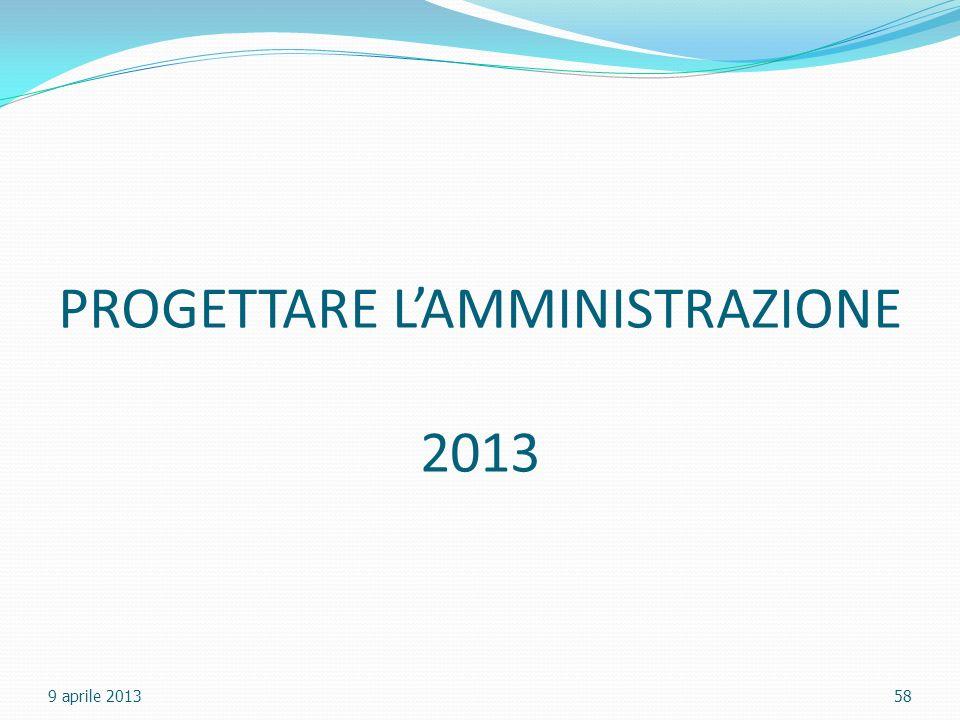 PROGETTARE L'AMMINISTRAZIONE 2013