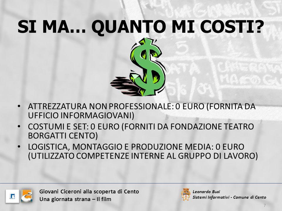 SI MA… QUANTO MI COSTI ATTREZZATURA NON PROFESSIONALE: 0 EURO (FORNITA DA UFFICIO INFORMAGIOVANI)