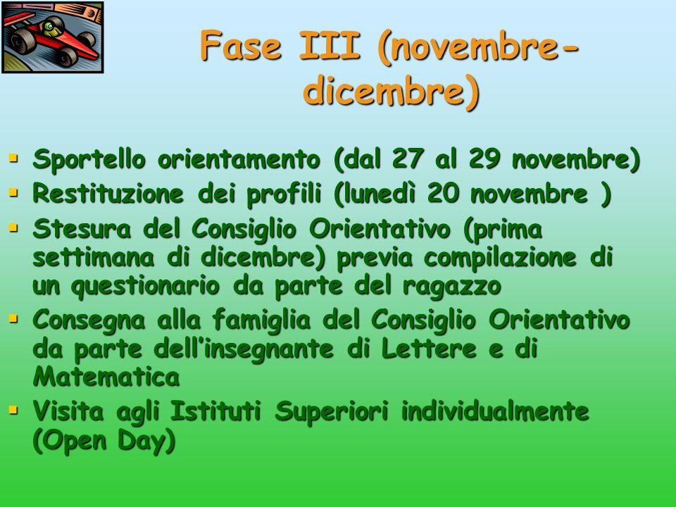 Fase III (novembre-dicembre)