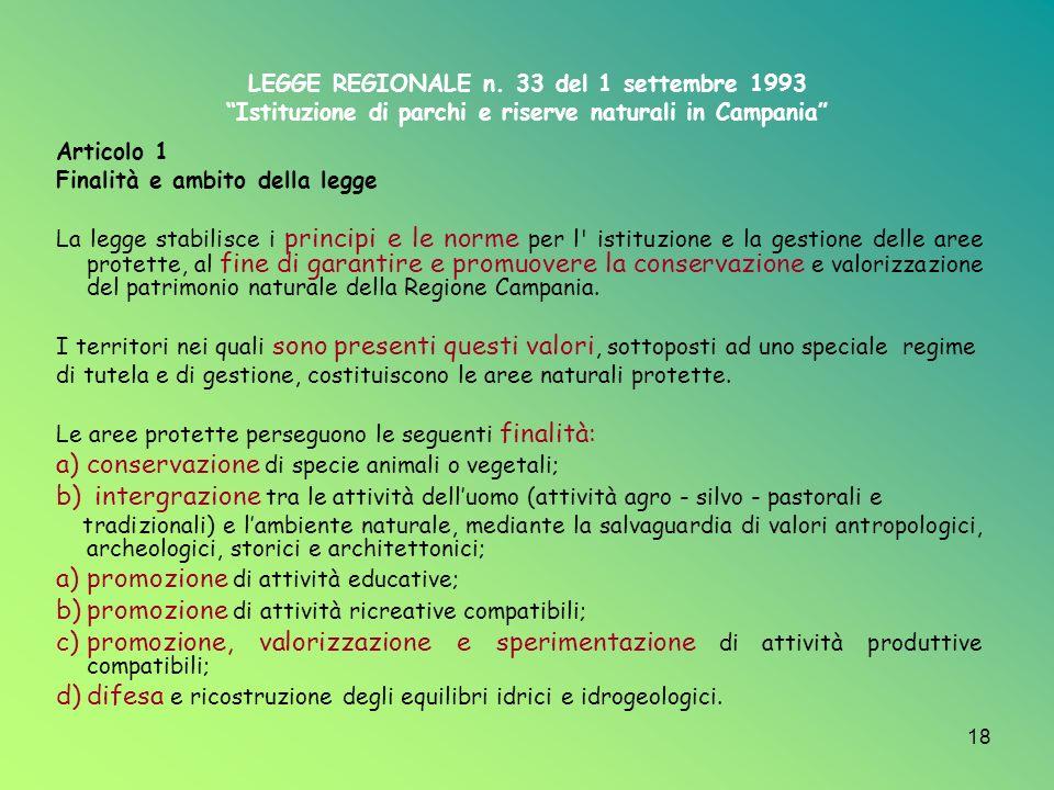 La conservazione e la gestione della aree protette in Campania