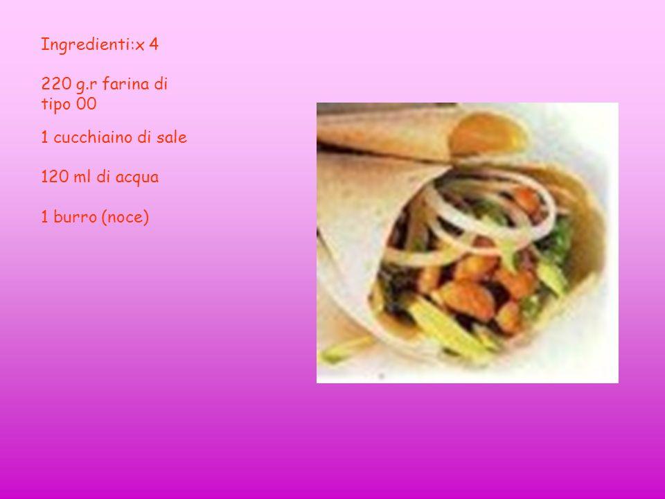 Ingredienti:x 4 220 g.r farina di tipo 00 1 cucchiaino di sale 120 ml di acqua 1 burro (noce)