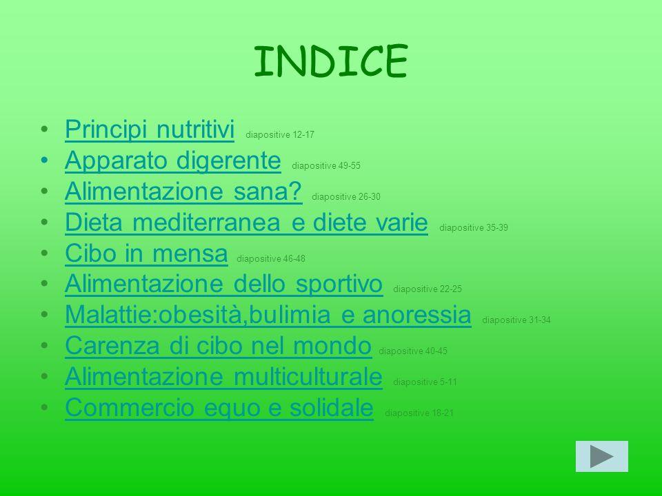 INDICE Principi nutritivi diapositive 12-17
