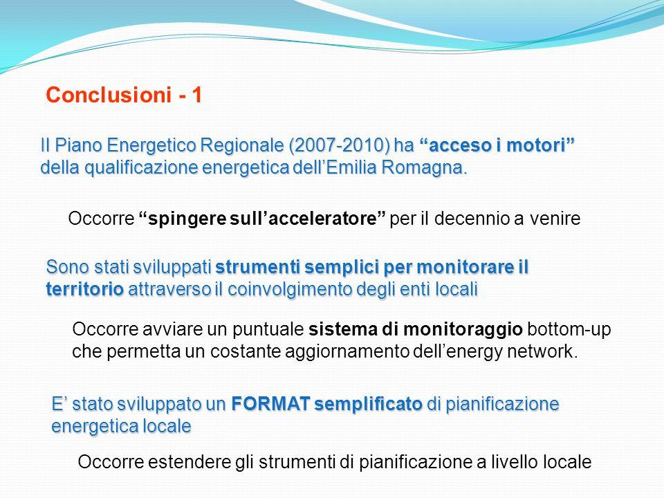 Conclusioni - 1 Il Piano Energetico Regionale (2007-2010) ha acceso i motori della qualificazione energetica dell'Emilia Romagna.