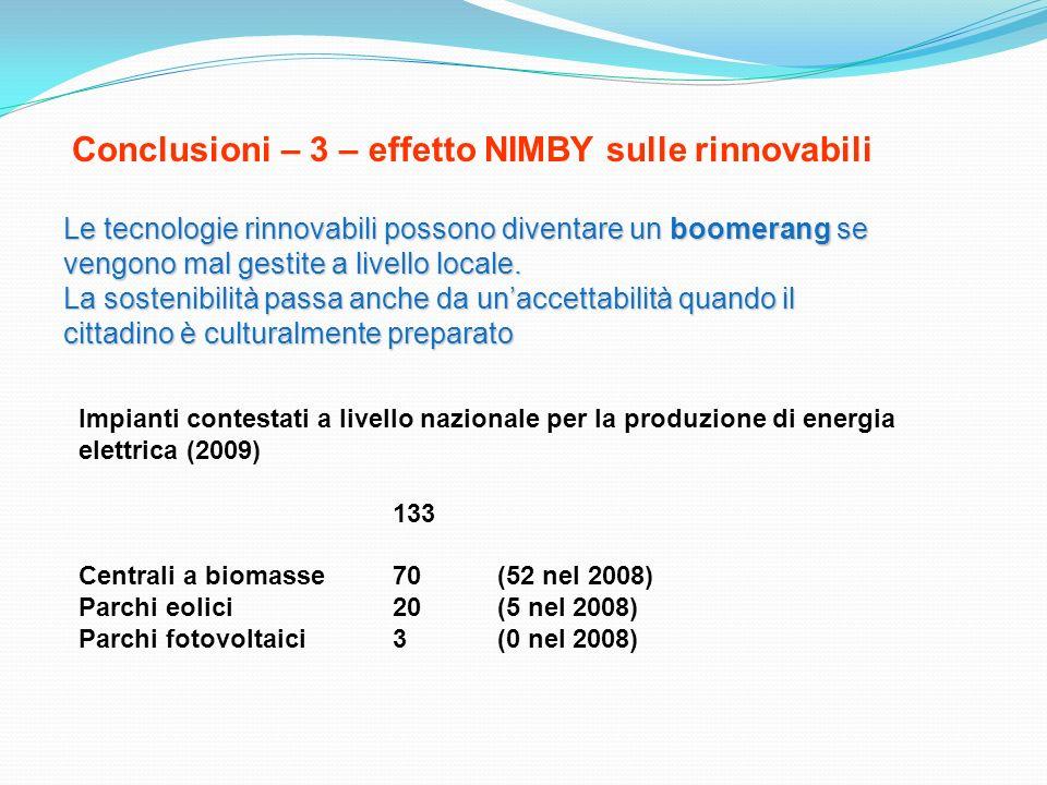 Conclusioni – 3 – effetto NIMBY sulle rinnovabili