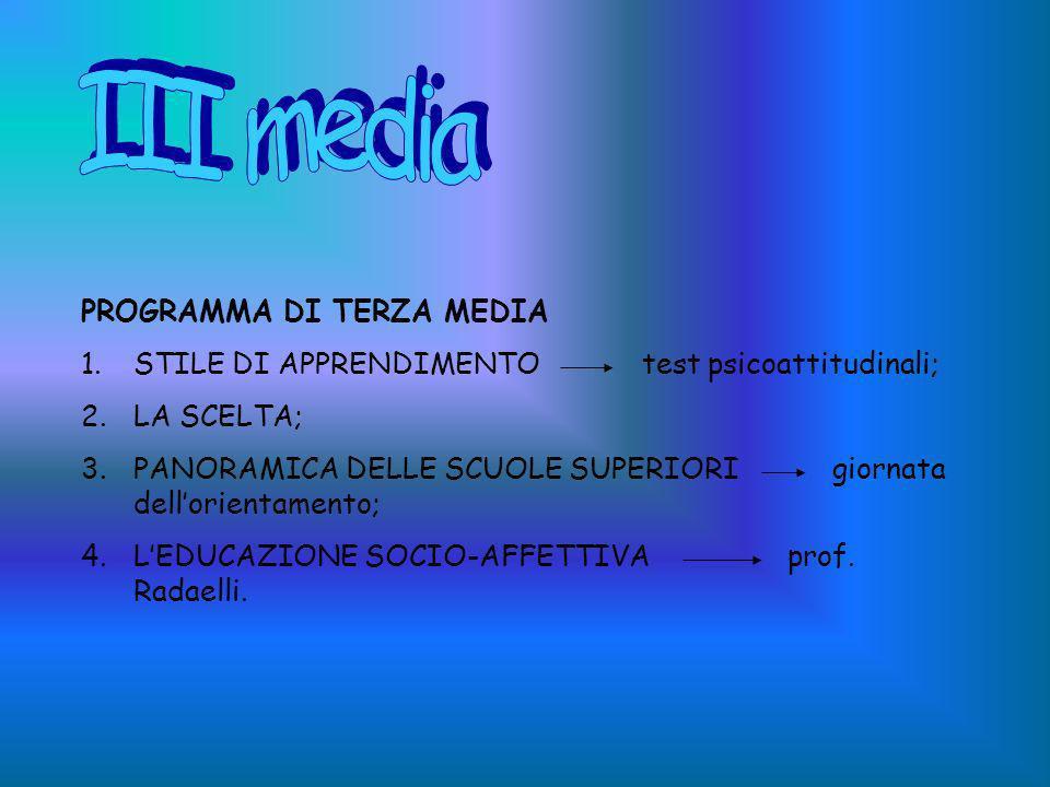 III media PROGRAMMA DI TERZA MEDIA