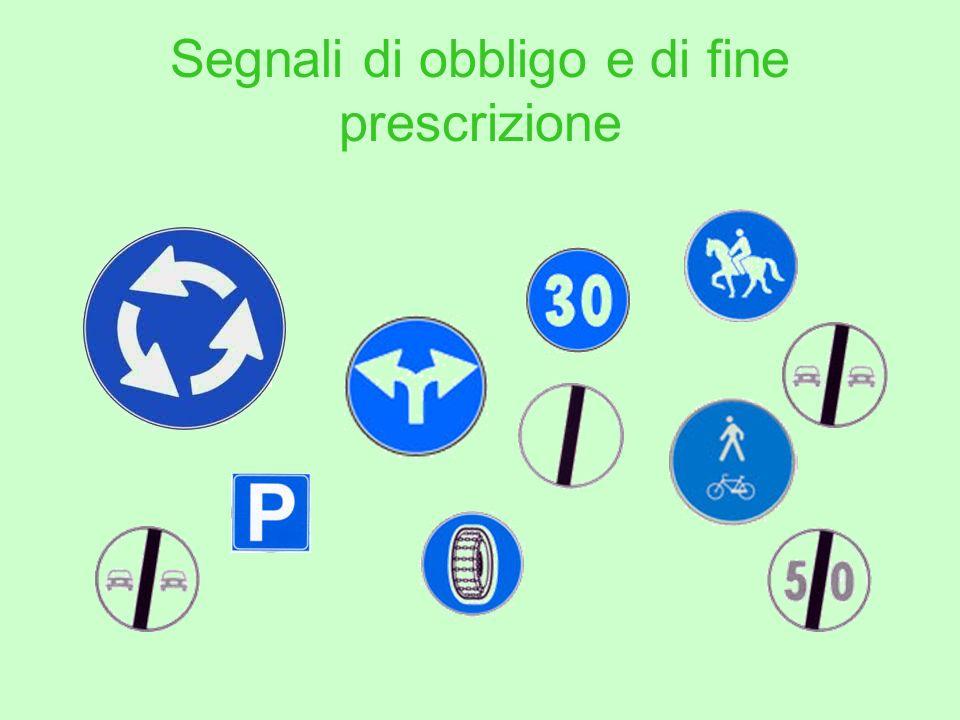 Segnali di obbligo e di fine prescrizione