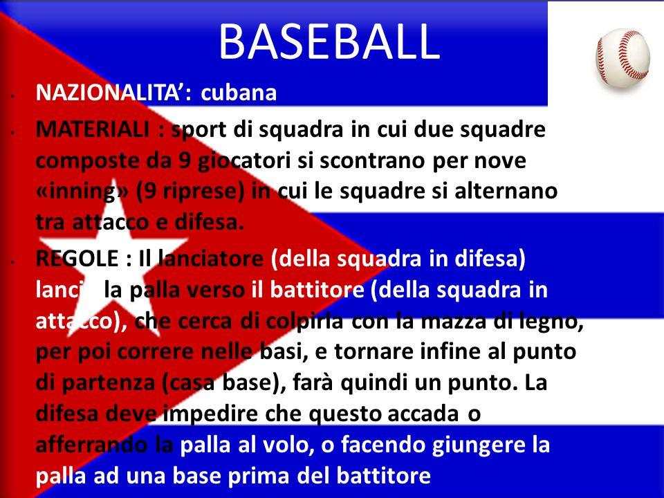 BASEBALL NAZIONALITA': cubana
