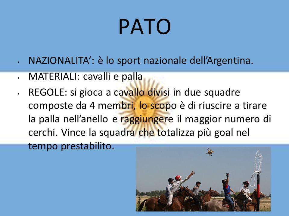 PATO NAZIONALITA': è lo sport nazionale dell'Argentina.