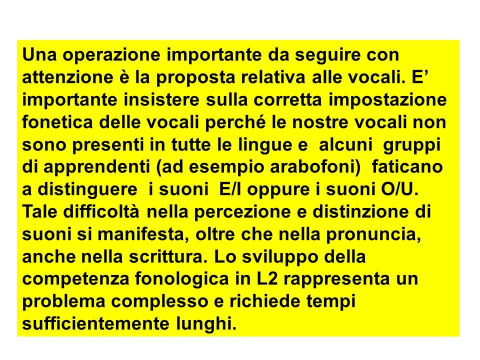 Una operazione importante da seguire con attenzione è la proposta relativa alle vocali.