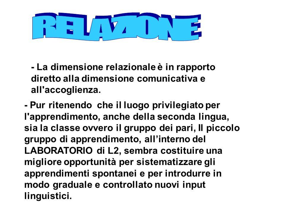 RELAZIONE - La dimensione relazionale è in rapporto diretto alla dimensione comunicativa e all accoglienza.