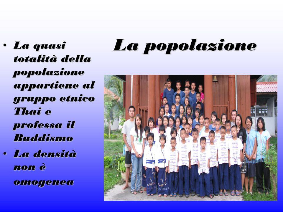 La popolazione La quasi totalità della popolazione appartiene al gruppo etnico Thai e professa il Buddismo.