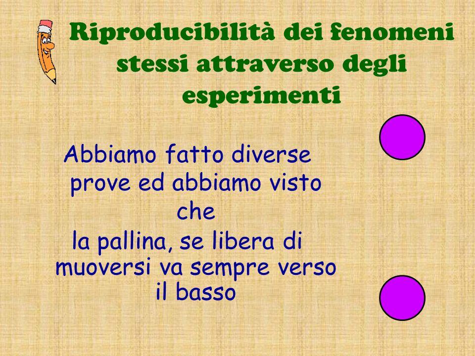 Riproducibilità dei fenomeni stessi attraverso degli esperimenti