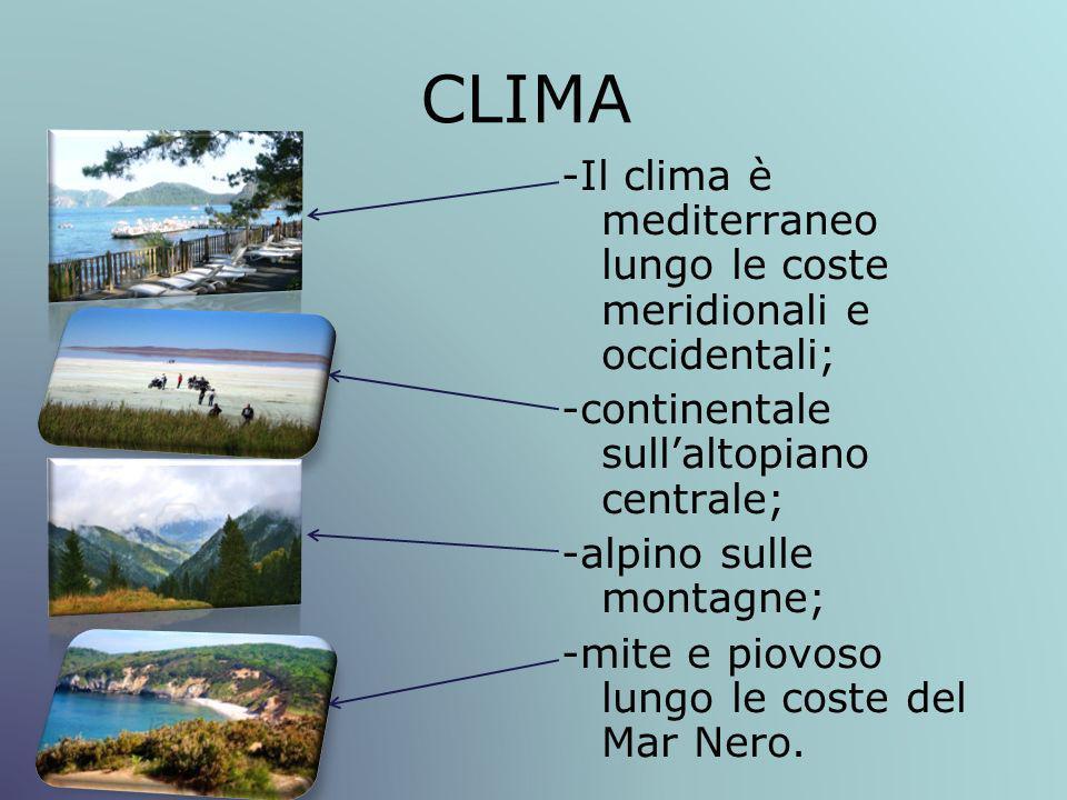 CLIMA -Il clima è mediterraneo lungo le coste meridionali e occidentali; -continentale sull'altopiano centrale;