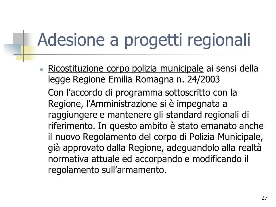 Adesione a progetti regionali