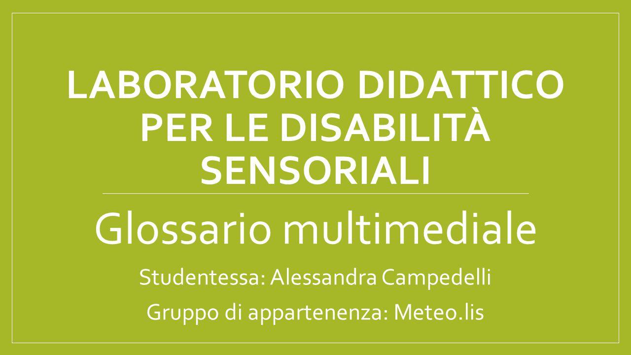 Laboratorio didattico per le disabilità sensoriali