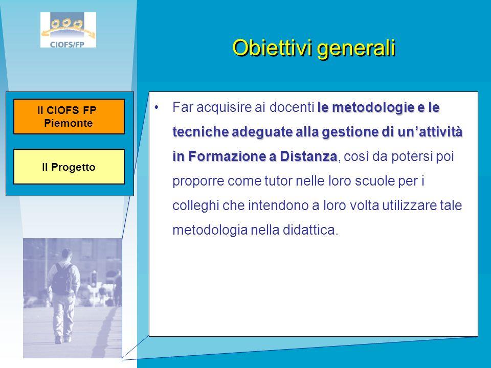 Obiettivi generali Il Progetto. Il CIOFS FP. Piemonte.