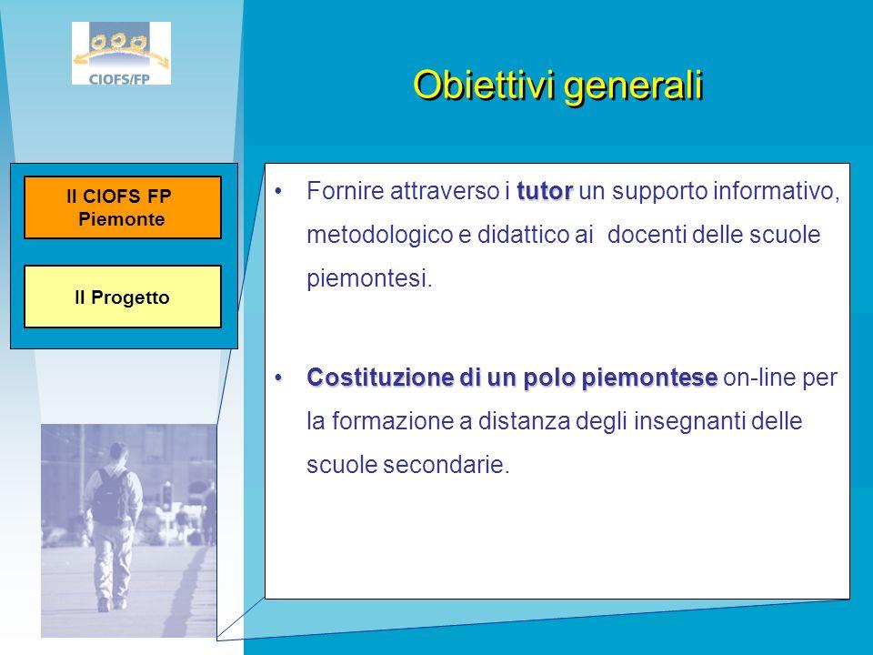 Obiettivi generaliIl Progetto. Il CIOFS FP. Piemonte.