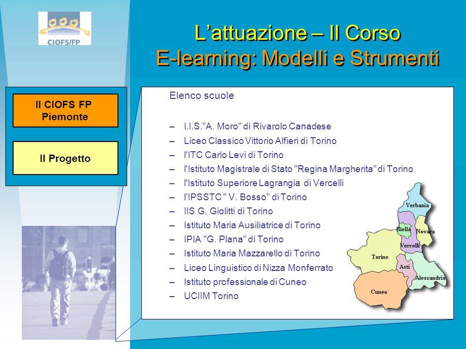 L'attuazione – Il Corso E-learning: Modelli e Strumenti