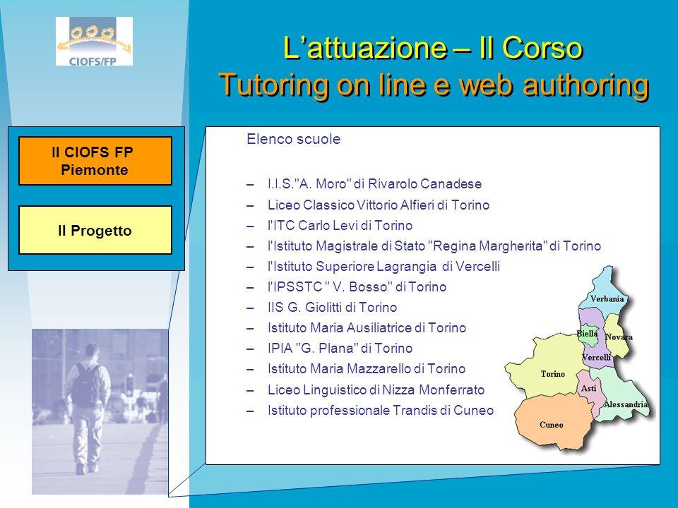 L'attuazione – Il Corso Tutoring on line e web authoring