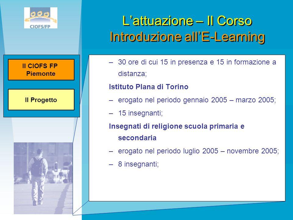L'attuazione – Il Corso Introduzione all'E-Learning