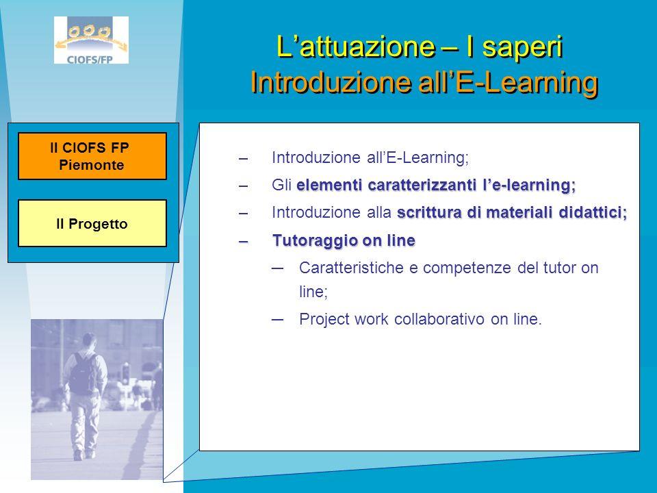L'attuazione – I saperi Introduzione all'E-Learning